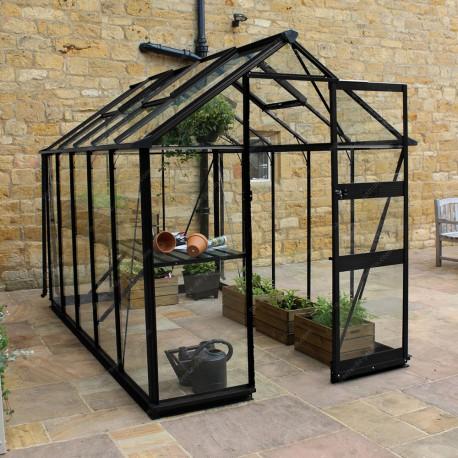 serre de jardin 6 17m en verre trempe burford noire eden greenhouses