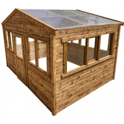 serre de jardin en bois madriers 28mm traite marron 12m gardy shelter
