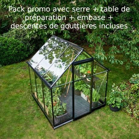 pack promo serre de jardin 3 9m noire en verre trempe qube halls
