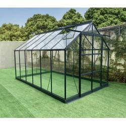 serre de jardin 8 98m en aluminium anthracite et verre trempe 4mm green protect