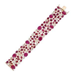 Exceptional 52.82 Carat Ruby Diamond 18 Karat Gold Bracelet