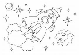 Ракета. Раскраска — скачать и распечатать. Профессии и ...