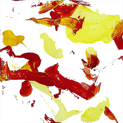 An abstract acrylic painting with red, orange, and yellow streaks and dots