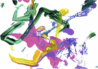 An abstract acrylic painting with green, pink, yellow, blue, and purple streaks and dots