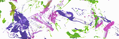 An abstract acrylic painting with purple, pink, and green streaks and dots
