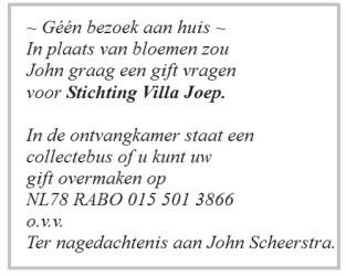 John Scheerstra overleden