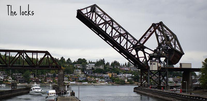 Locks and bridge Ballard Seattle