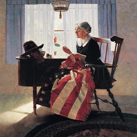 Norman Rockwell Mending The Flag