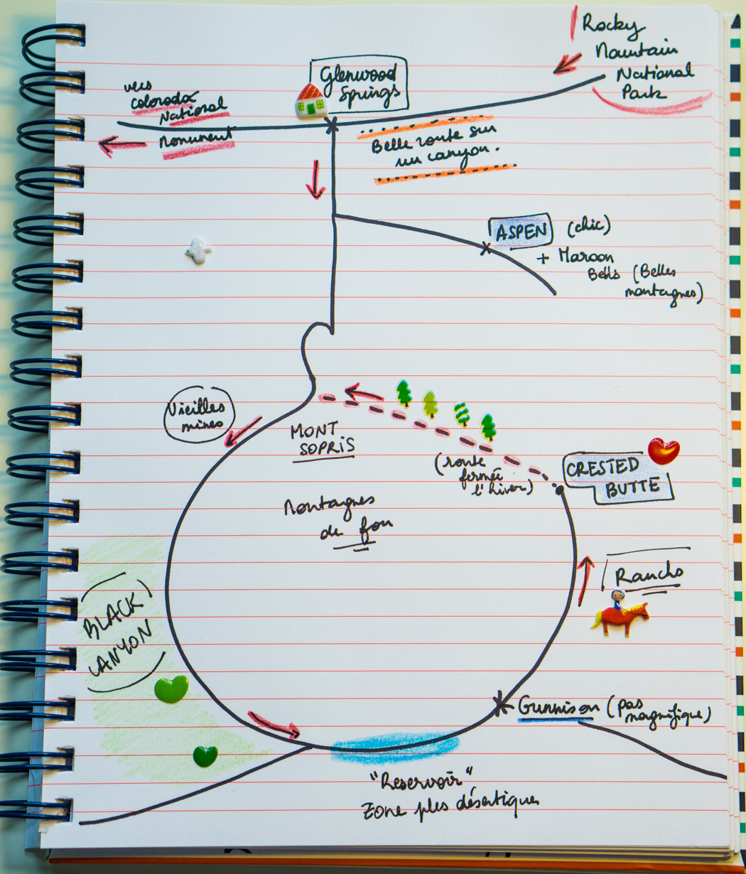 Colorado Elk Loop - La carretera dibujada en mi cuaderno
