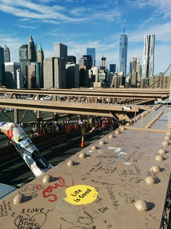 Brooklyn Bridge New York vue sur Manhattan