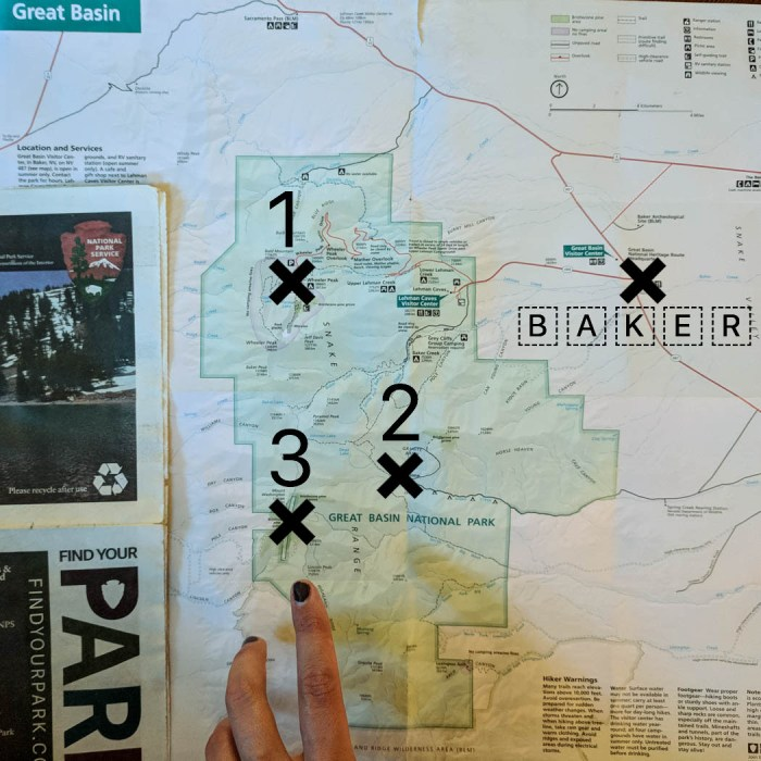 Carte Great Basin Nevada