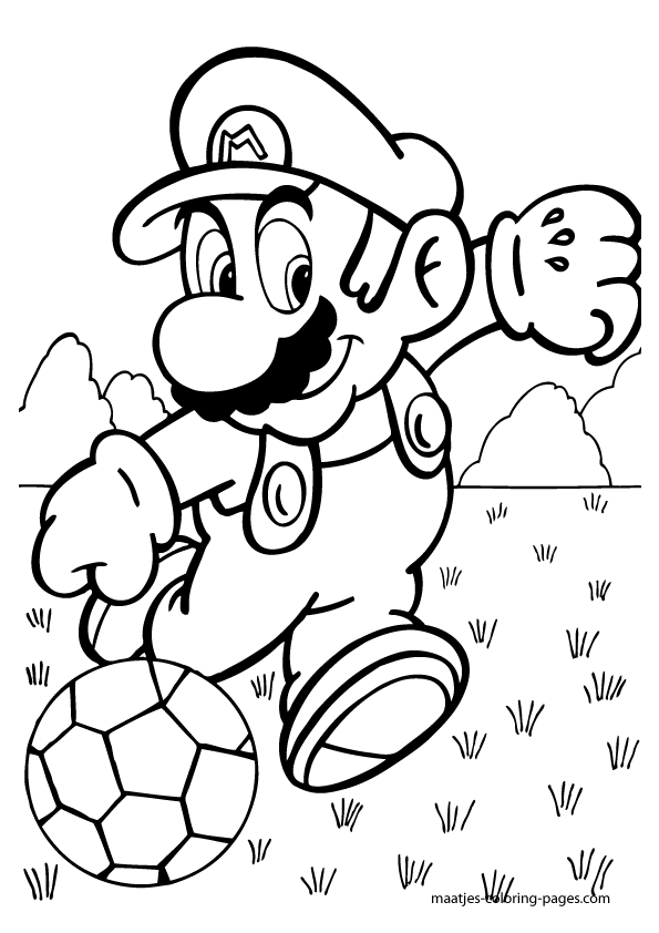 Super Mario Playing Soccer Coloring Pages