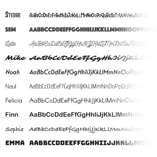 beschikbare sticker lettertypes
