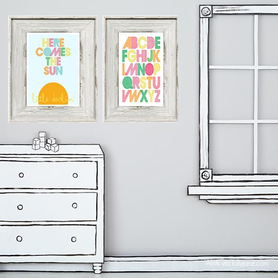 Free printable Nursery Art by Lolly Jane | Mabey She Made It #nurseryart #nursery #nestingtonewborns #freeprintable