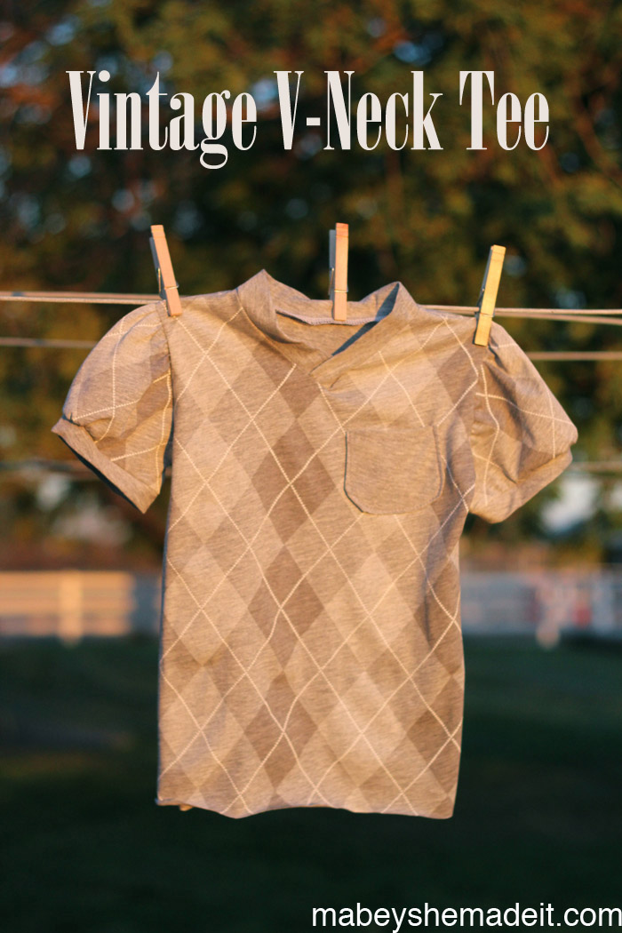 Vintage V-neck Tee | Mabey She Made It #kidsclothesweek #blankslatepatterns