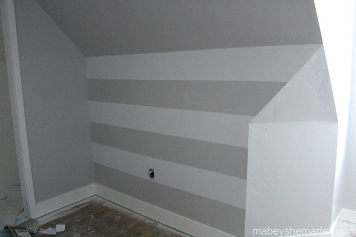 Vinyl Striped Wall | Mabey She Made It | #expressionsvinyl #stripedwall #horizontalstripes