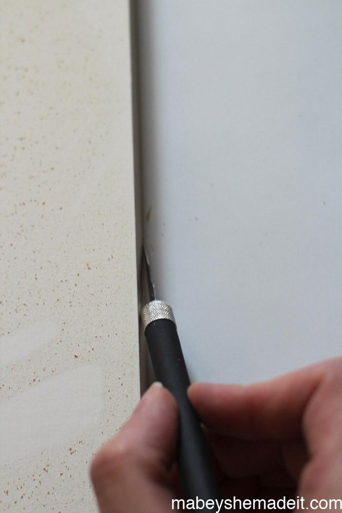 Vinyl Striped Wall | Mabey She Made It | #expressionsvinyl #stripedwall #horizontalstripes