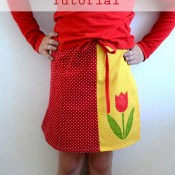 Colorblocked Tulip Wrap Skirt