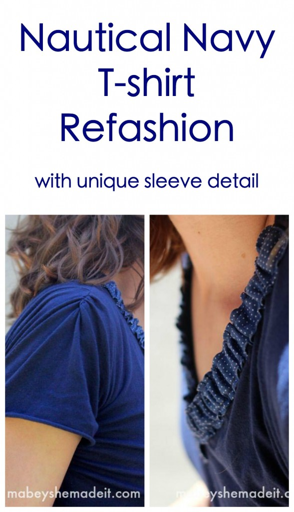 Nautical Navy T-shirt Refashion | Mabey She Made It | #refashion #tshirtrefashion #fashion #sewing