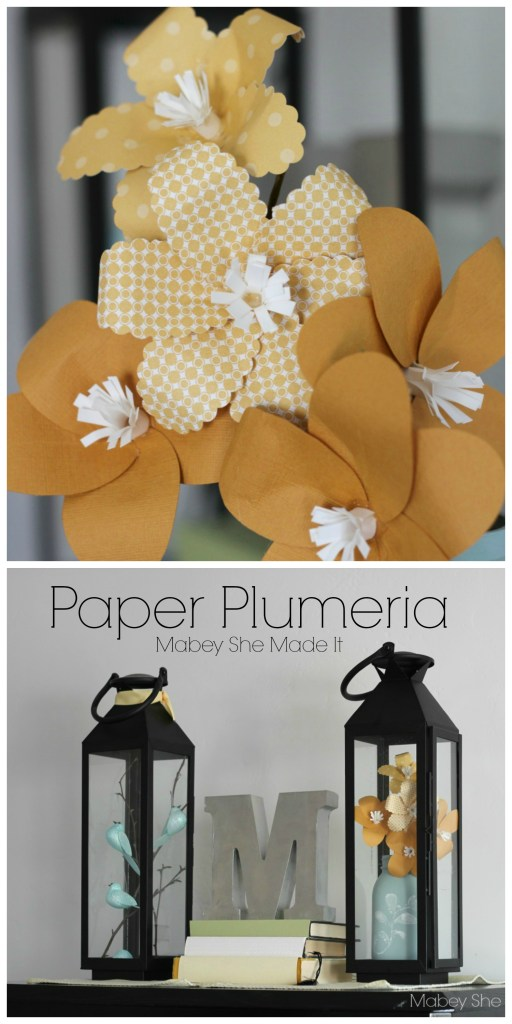 Learn to make these beautiful Paper Plumeria Tutorial | Mabey She Made It | #papercrafts #flowers #plumeria
