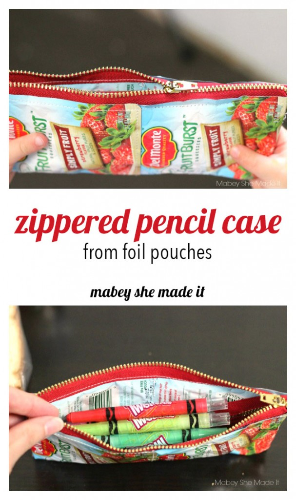 These adorable pencil cases use recycled foil pouches and are fun to make.