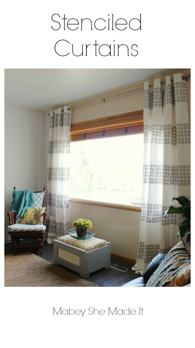 Must make! Easy to follow tutorial for DIY Stenciled Curtains | Mabey She Made It | #curtains #stencil #homedecor #royaldesignstudio