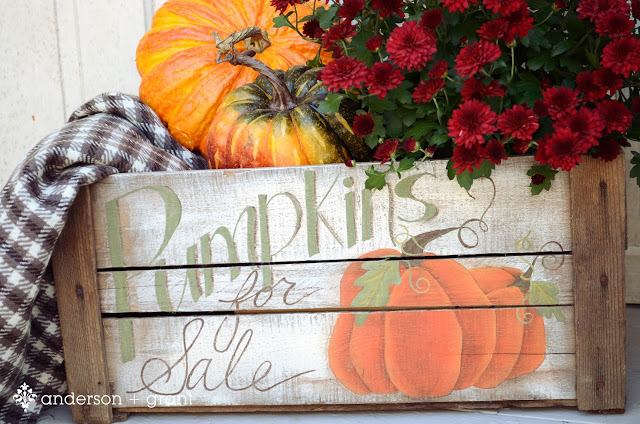 hand painted pumpkin crate for fall close up
