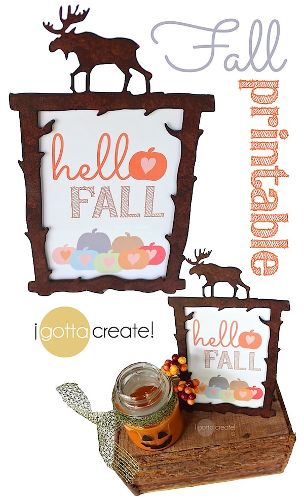 Hello Fall pumpkin printable at I Gotta Create pin