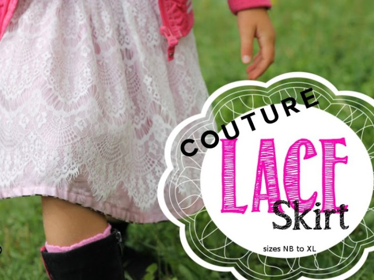 Couture Lace Skirt Tutorial by Serger Pepper | Mabey She Made It | #lace #skirt #skirtutorial #sewingforkids #selfishsewing #linedskirt