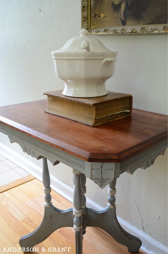 side view of distressed painted table from anderson + grant