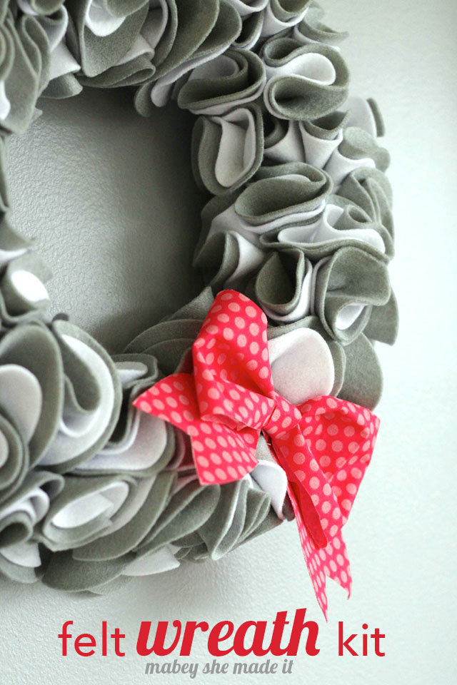 A pre-made kit saves so much time making this felt wreath. Perfect for craft night.