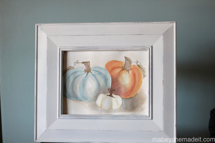 Free Pumpkin Watercolor Printable | Mabey She Made It | #pumpkin #falldecor #watercolor