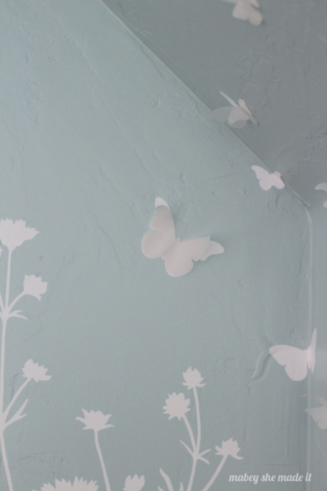3-d Butterfly Wall | Mabey She Made It | #vinyl #butterflies #vellum #slopedceiling