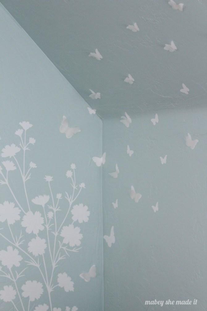 3-d Butterfly Wall   Mabey She Made It   #vinyl #butterflies #vellum #slopedceiling