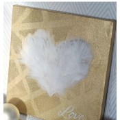 """Love"" Feathered Heart Canvas"