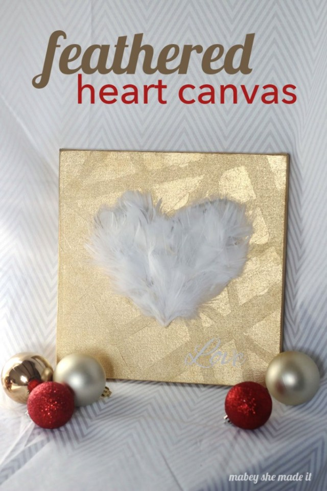 It's gold, feathery, and full of love. Basically you can't go wrong with this feathered heart canvas