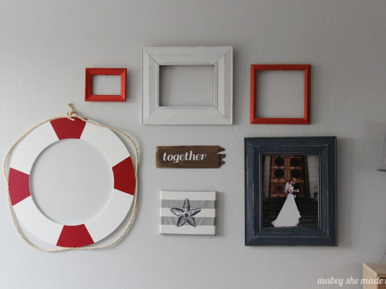 Life Preserver Gallery Wall | Mabey She Made It | #gallerywall #nautical #lifepreserver #cutitout