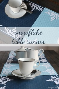 Frozen Snowflake Table Runner   Mabey She Made It   #winter #frozen #snowflakes #silhouette