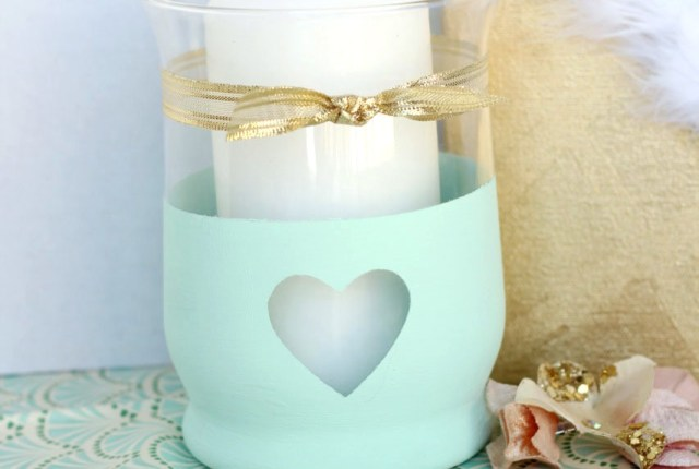 Super simple candle holder with chalk paint. Cute and easy enough for anyone to do.