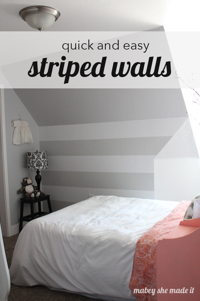 How to make a vinyl Striped Wall | Mabey She Made It