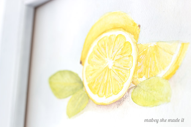 Lemon watercolor detail