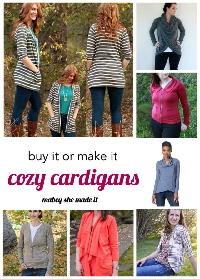 Great idea--either choose patterns to make a cardigan or buy one of these she picked if you don't sew.