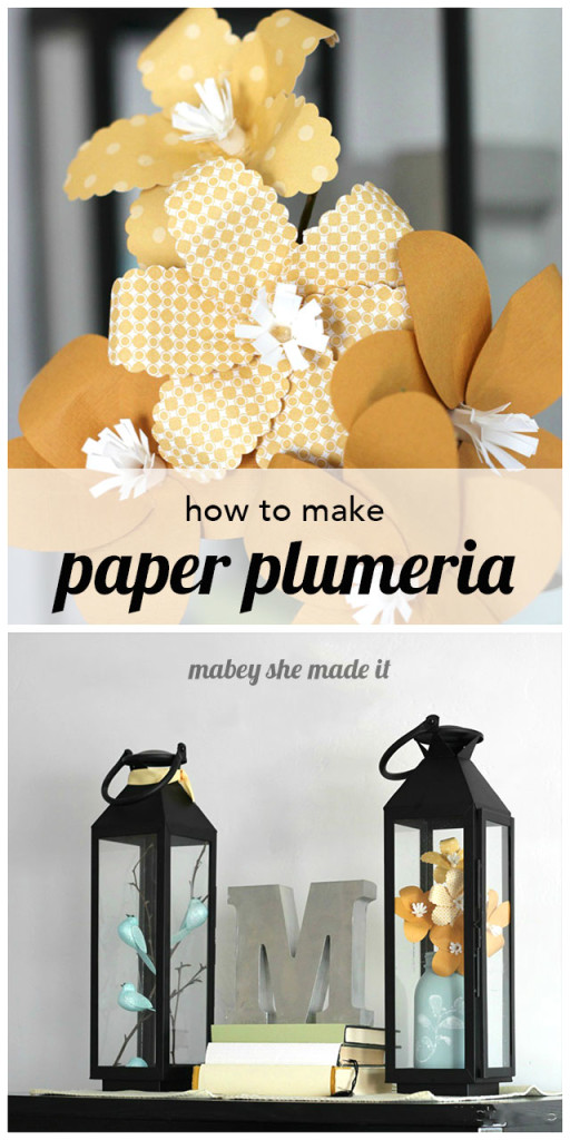 You only need a few paper punches to make these cute paper plumeria and stamped mason jar.