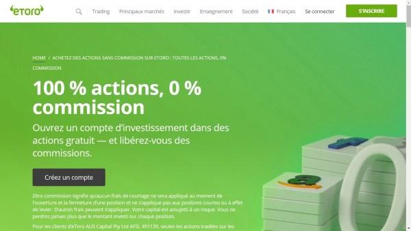 Page site eToro Achetez actions sans commission