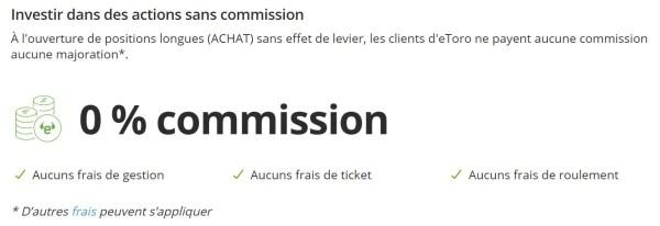 Page site eToro - Frais achat action