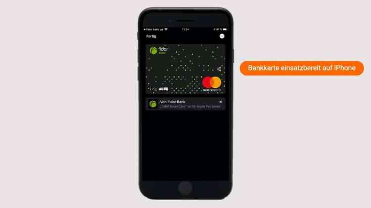 Die Bankkarte wird ab jetzt in Wallet oben als Bild symbolisch angezeigt und ist einsatzbereit.