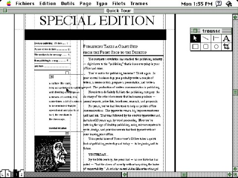 Screenshot of PageMaker 1.0 (french version)