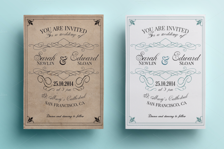 What To Include In A Wedding Invitation Pack: Creativemarket_Vintage_Wedding_Invitation_Pack_85632_cap04