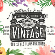 Creativemarket Vintage objects and watercolor 86354 icon