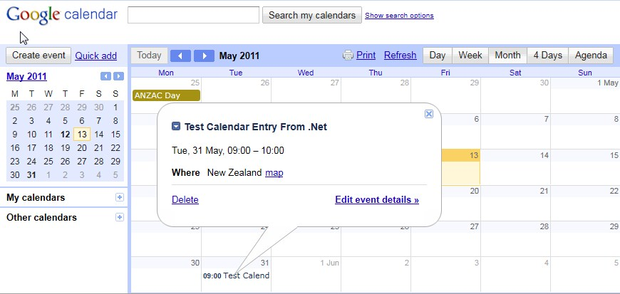 Google Calendar Api C Create Event